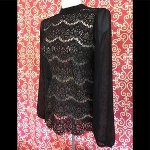 NWT Sheer Eyelash Lace Black Long Sleeve Top